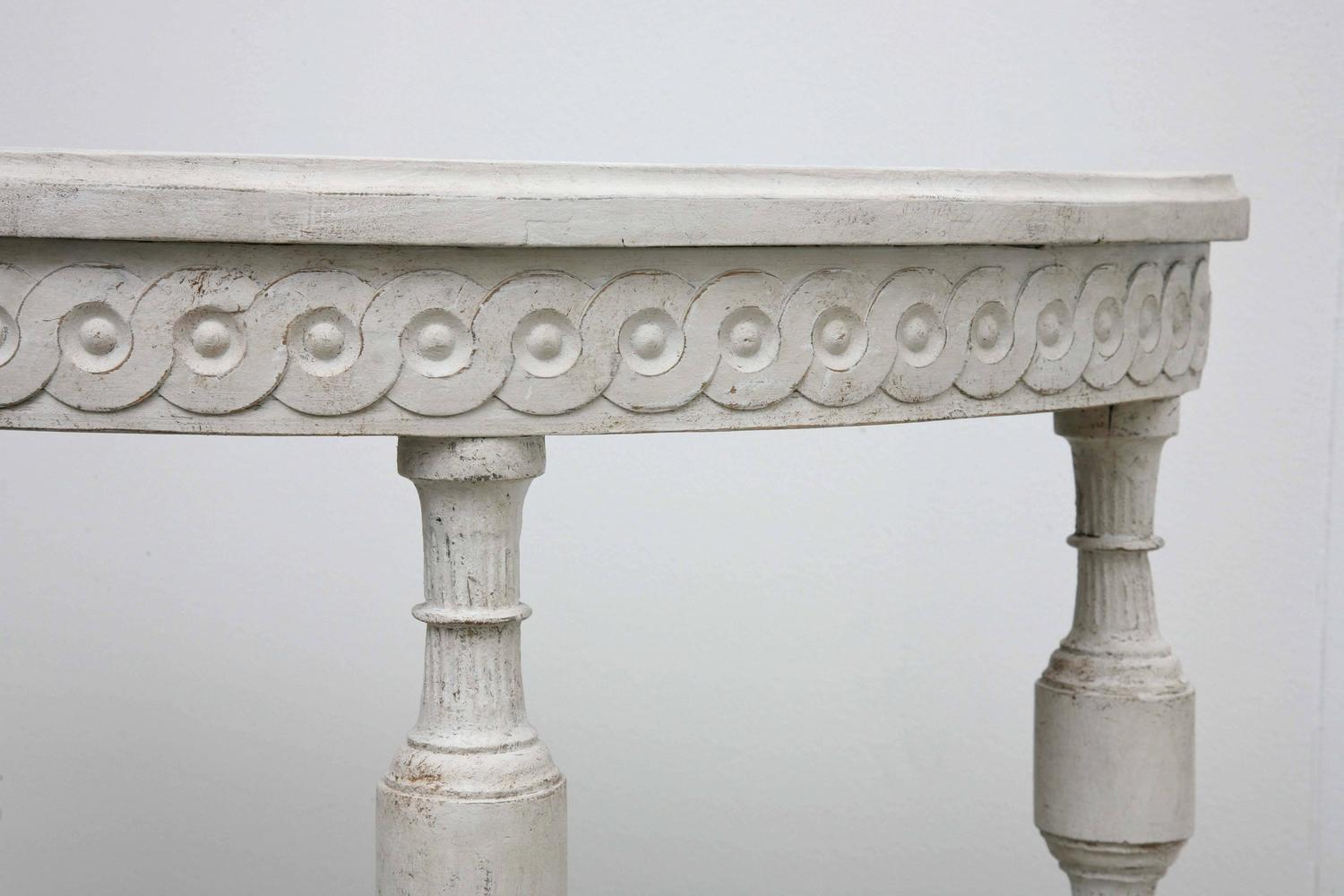 Antique Swedish Gustavian Small Painted Demilune Console ...