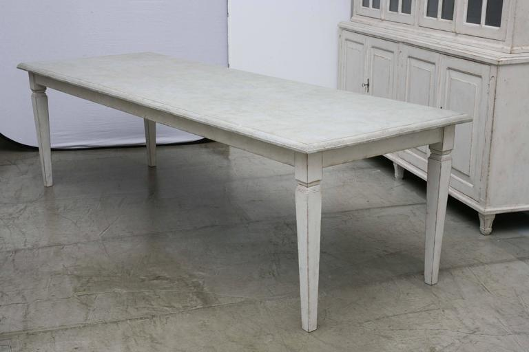 Gustavian Antique Long Swedish Painted Dining Farm Table Late 19th Century  For Sale
