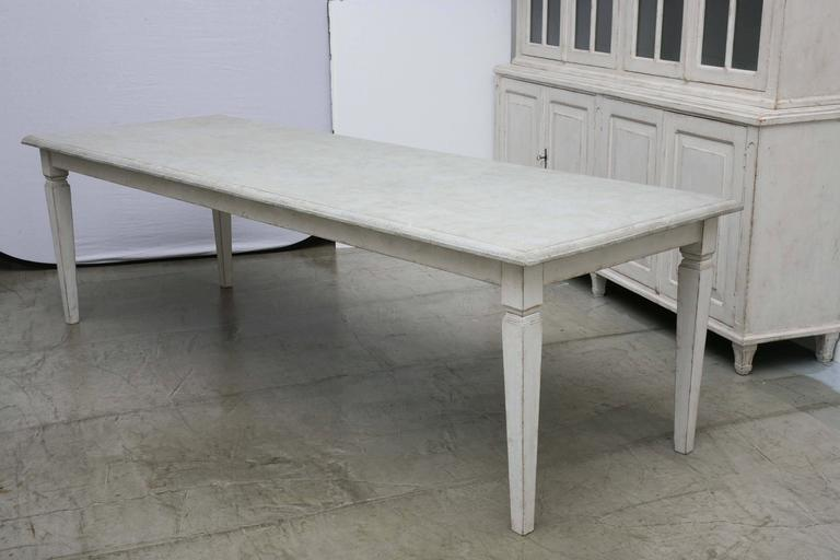 Antique Long Swedish Painted Dining Farm Table  Late 19th Century In Good Condition For Sale In West Palm Beach, FL