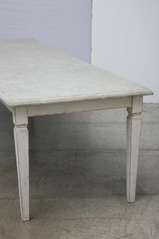 Pine Antique Long Swedish Painted Dining Farm Table  Late 19th Century For Sale