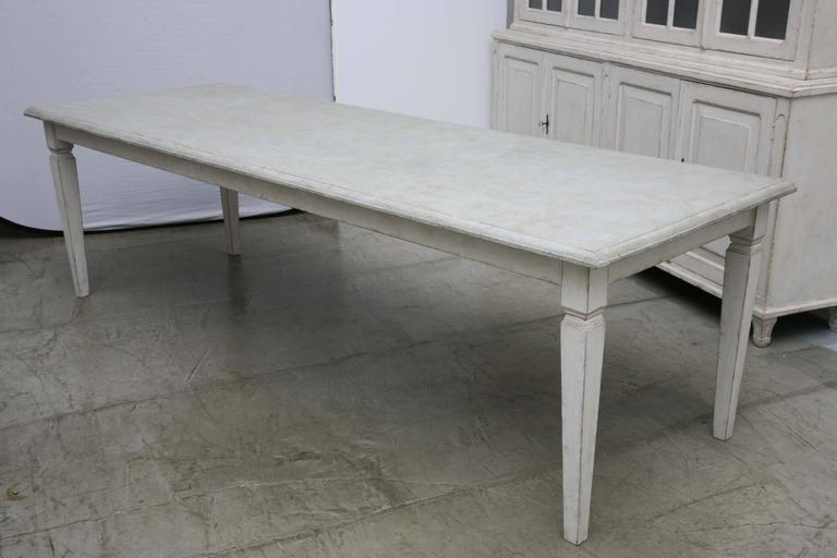 Antique Long Swedish Painted Dining Farm Table  Late 19th Century For Sale 5
