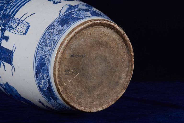 Large Chinese Porcelain Figural Blue And White Vase 19th