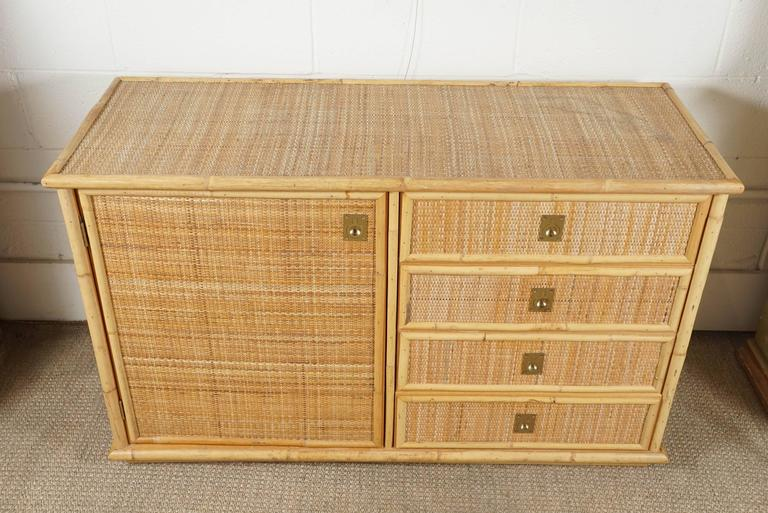 Wicker And Bamboo Dresser In A Modern Campaign Style At