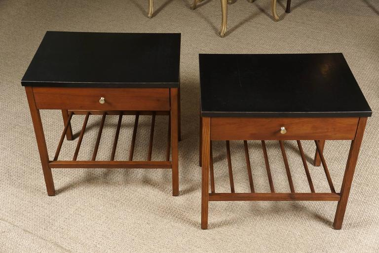 Pair Of Small End Tables With Black Laminate Tops At 1stdibs