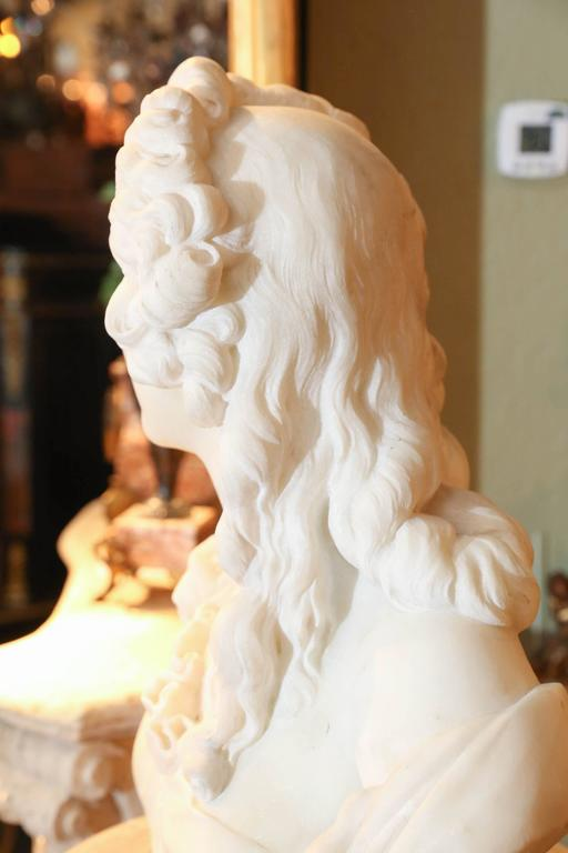 Carved Marble Bust of a Woman, French, 19th Century For Sale