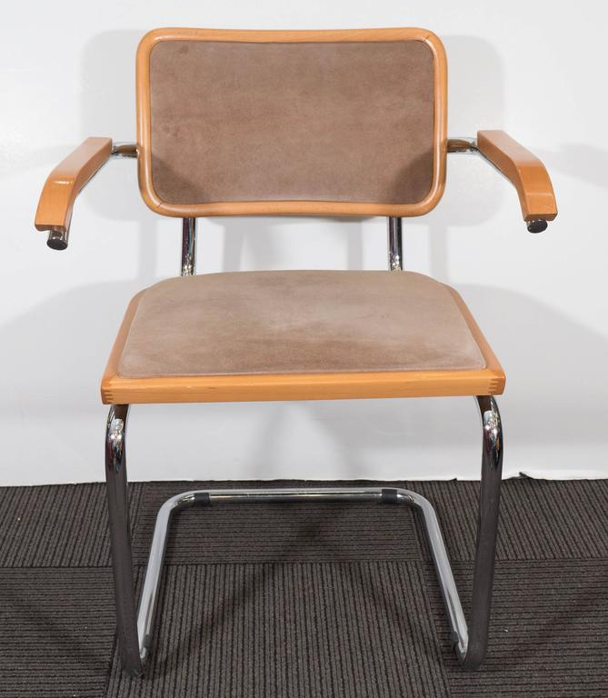 Italian Beech And Chrome Armchair In The Manner Of Marcel