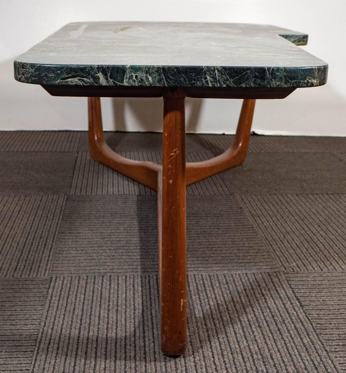 New York Marble Coffee Table: Vladimir Kagan Style Asymmetric Coffee Table With Green