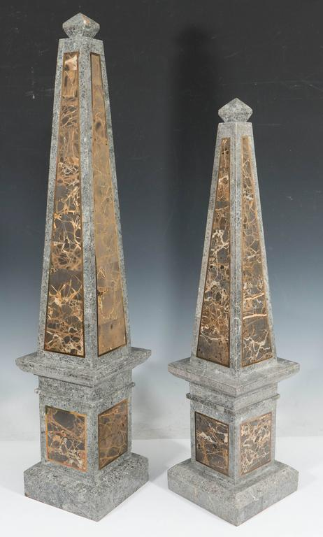 Pair Of Maitland Smith Obelisks In Tessellated Marble For