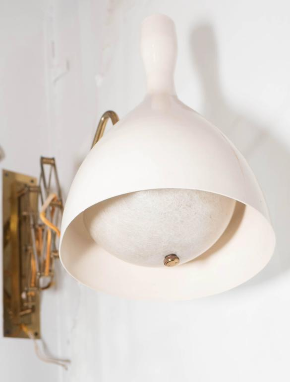 Wall Mounted Lamp Shades : Scissor Wall-Mounted Lamp with White Tulip Shade at 1stdibs