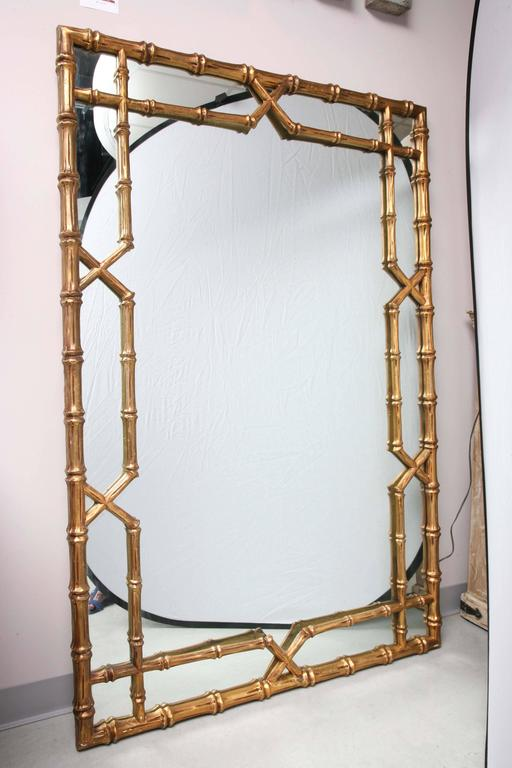 ... Mirror, Faux Bamboo Frame, Gilt, Can Lean Against the Wall at 1stdibs