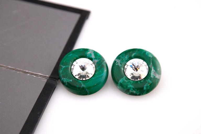 Marvelous Malachite And Glass Earrings Eugene Joseff Style
