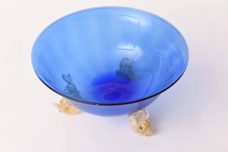Venetian glass cobalt blue gold dolphin foot centerpiece