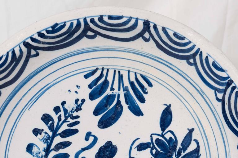 Chinoiserie Blue and White Delft Charger Mid-18th Century For Sale