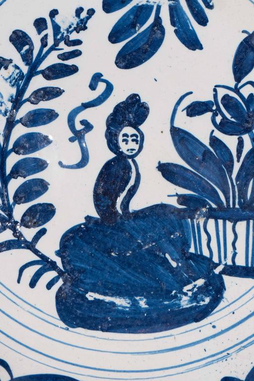 Dutch Blue and White Delft Charger Mid-18th Century For Sale