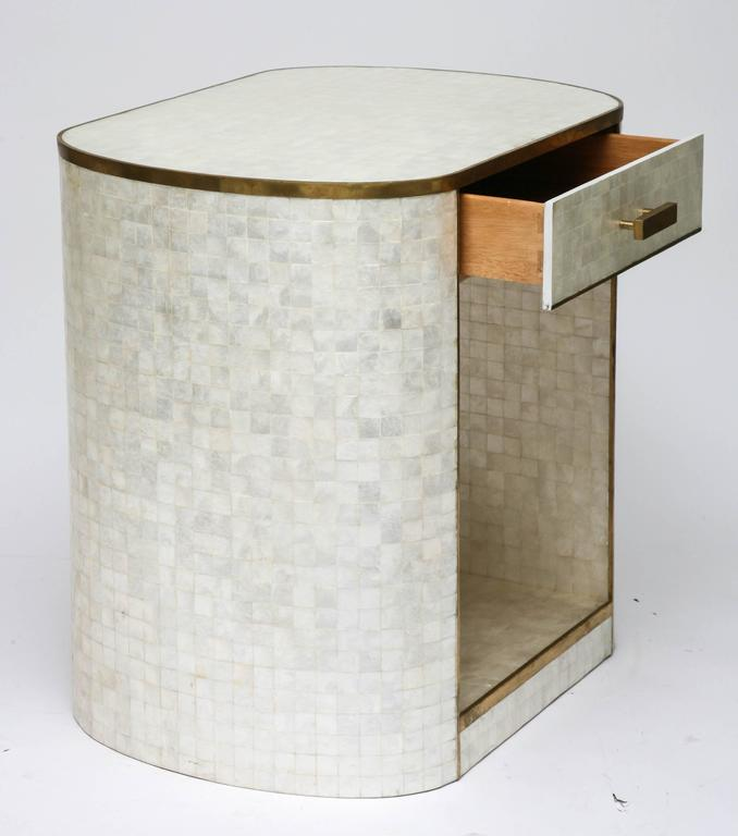 Single Drawer Capiz Shell And Antiqued Brass Cabinet By