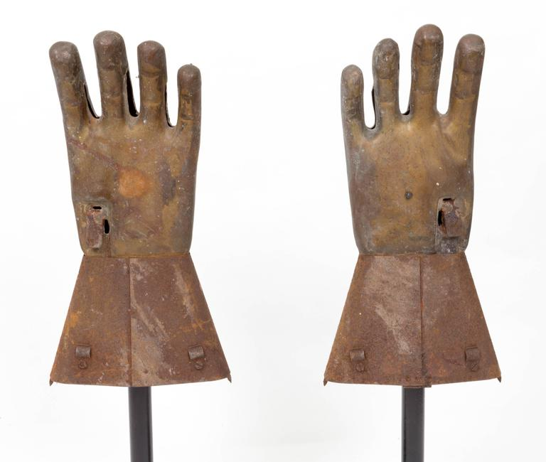 Iron Pair of Industrial Metal Glove Hand Molds For Sale