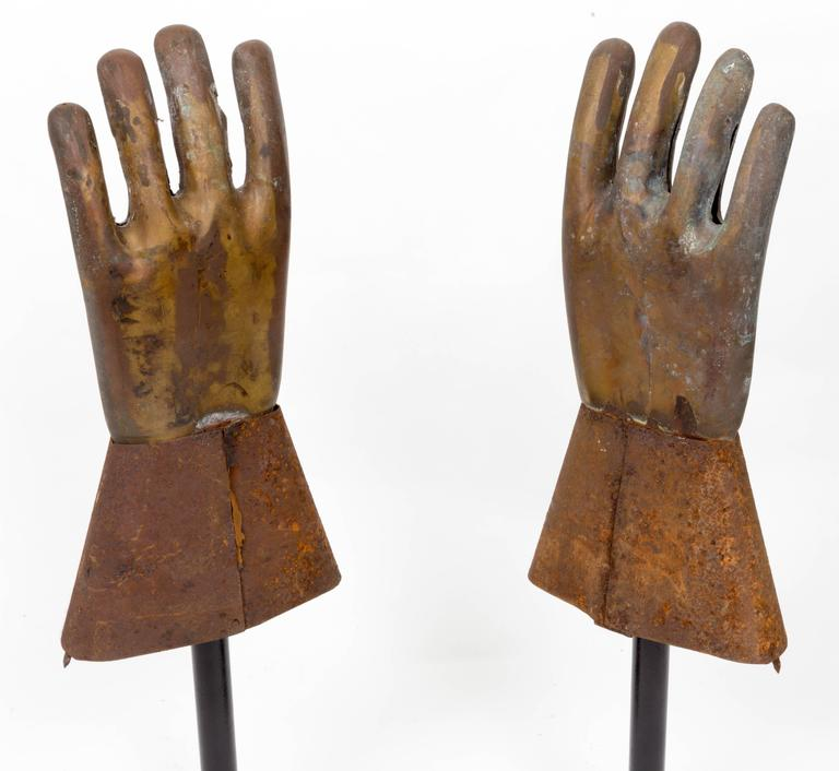 Pair of Industrial Metal Glove Hand Molds For Sale 1