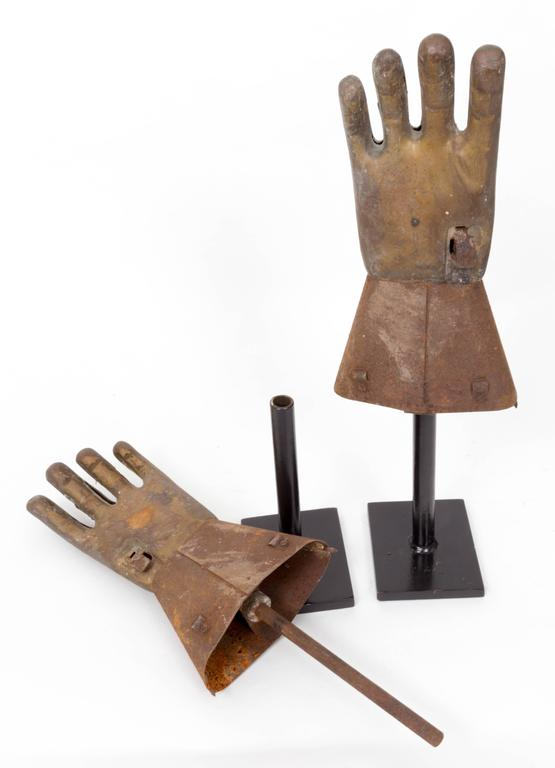 Pair of Industrial Metal Glove Hand Molds For Sale 2