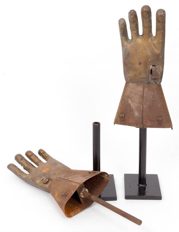 Pair of Industrial Metal Glove Hand Molds For Sale 3