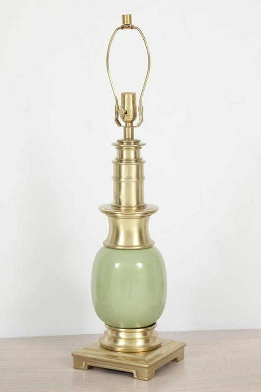 Pair of Celadon Green Ceramic and Brass Lamps by Stiffel 2