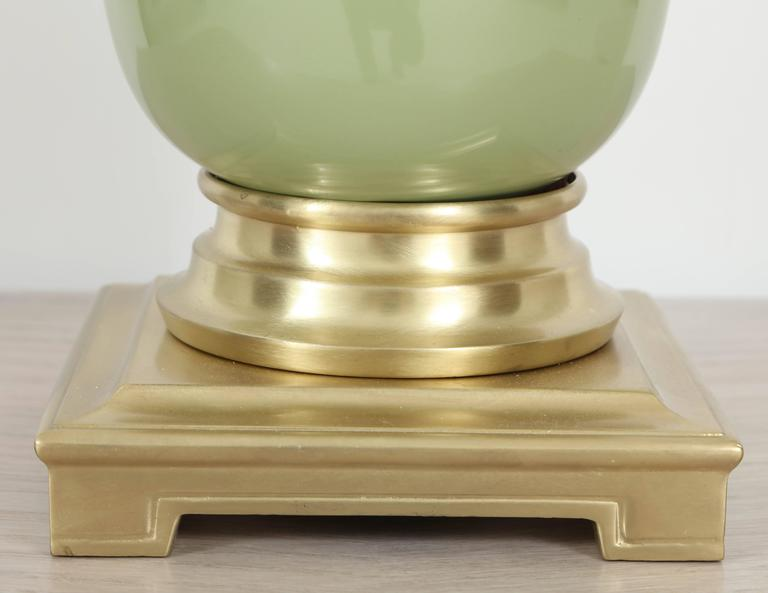 Mid-Century Modern Pair of Celadon Green Ceramic and Brass Lamps by Stiffel For Sale