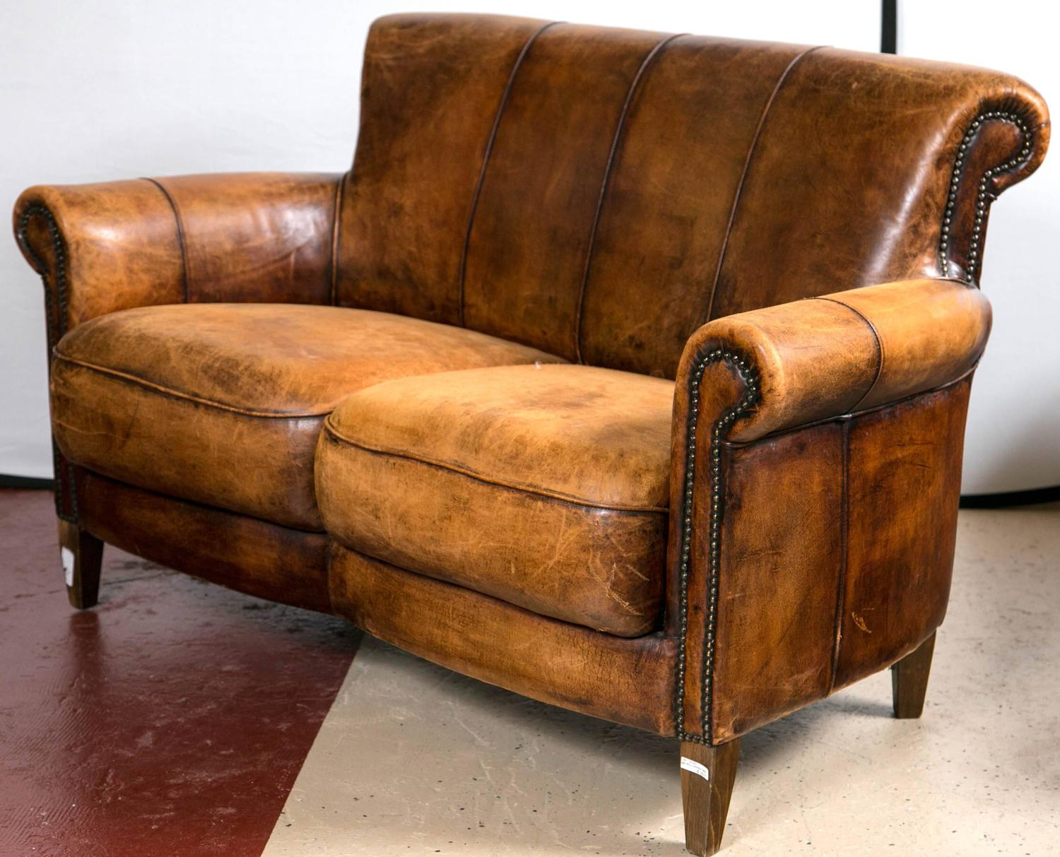 Vintage french distressed art deco leather sofa at 1stdibs for Furniture leather sofa