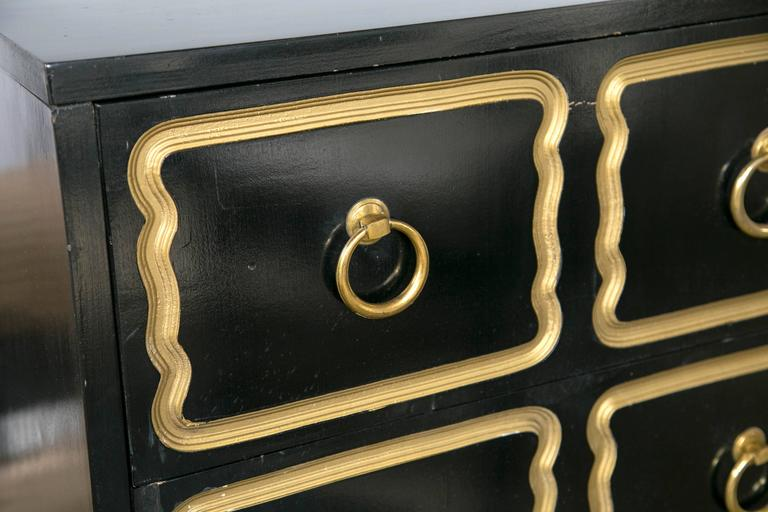 Hollywood Regency Pair of Dorothy Draper Style Espana Ebonized Chests For Sale