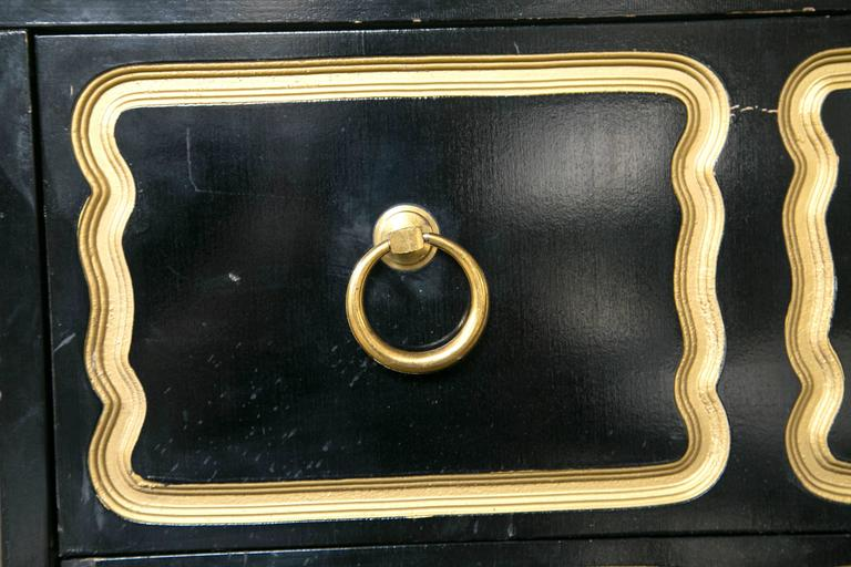 American Pair of Dorothy Draper Style Espana Ebonized Chests For Sale