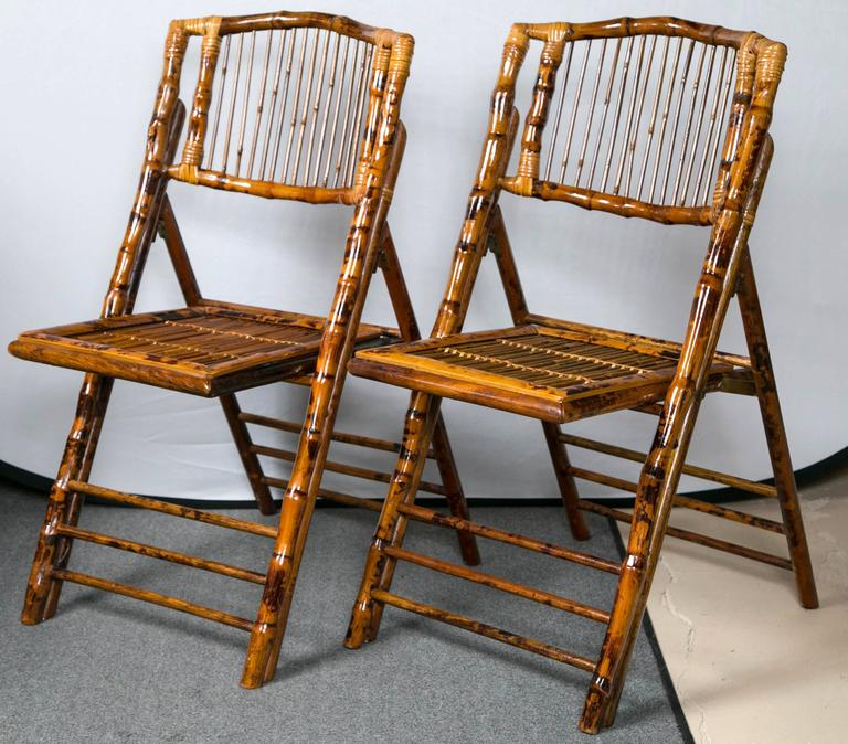 Eight Folding Tortoise Shell And Bamboo Stylized Side Chairs