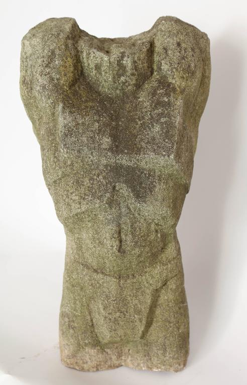 American Carved Stone Torso Sculpture For Sale