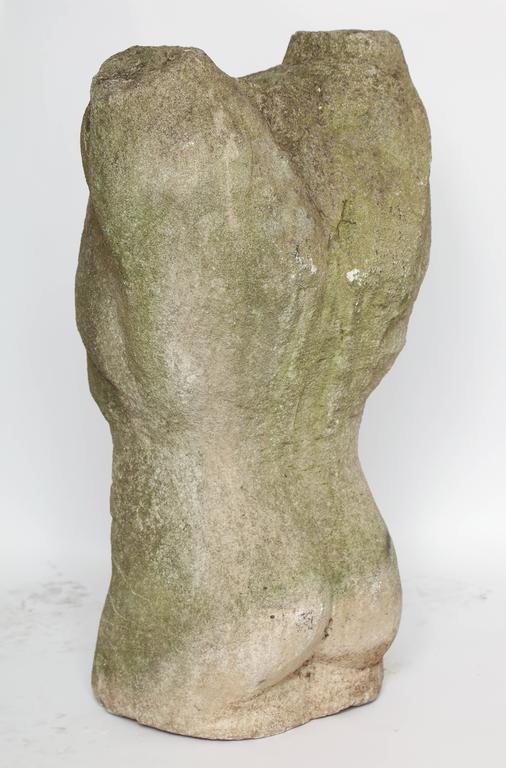 Carved Stone Torso Sculpture In Excellent Condition For Sale In New York, NY