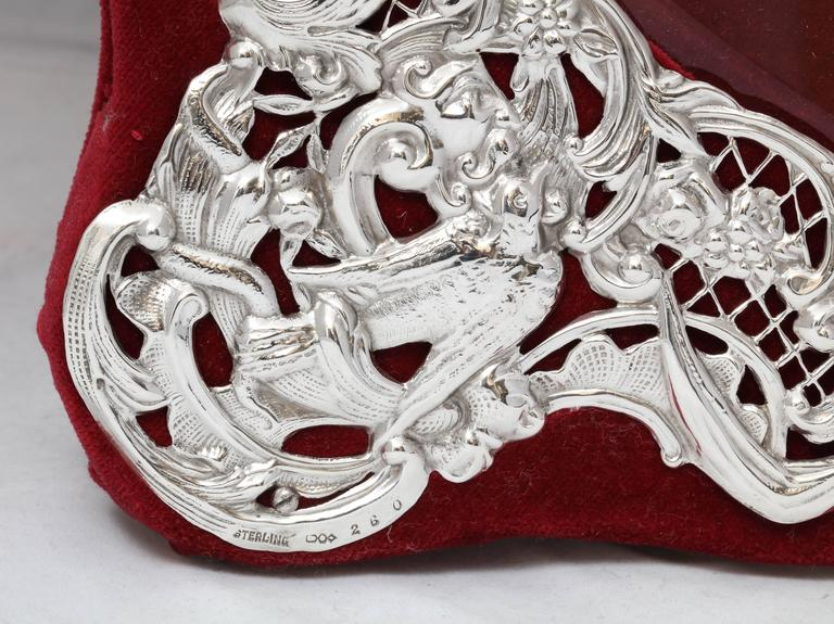 American Large Victorian Sterling Silver Heart-Form Picture Frame For Sale