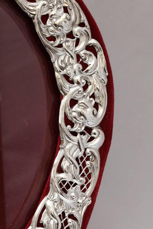 Late 19th Century Large Victorian Sterling Silver Heart-Form Picture Frame For Sale