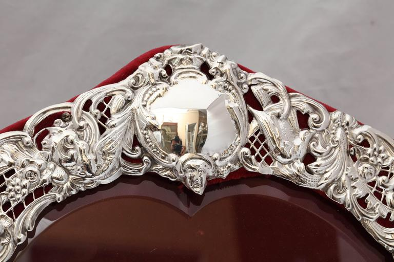 Large Victorian Sterling Silver Heart-Form Picture Frame For Sale 1