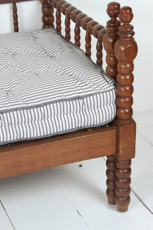 Vintage American Spindle Daybed With Pull Out Trundle Tufted Striped Mattress