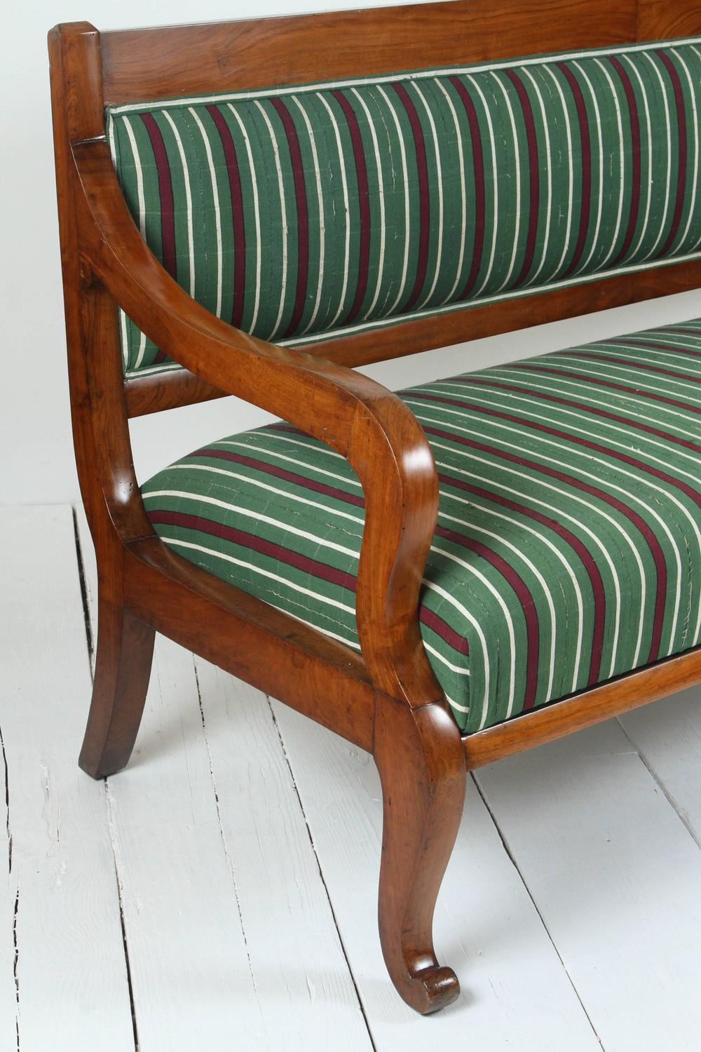 Italian Wood Bench Upholstered In Striped African Fabric