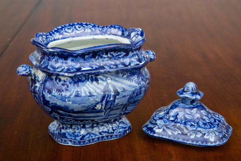 British Washington Standing at His Tomb Staffordshire Sugar Bowl and Cover, 19th Century For Sale
