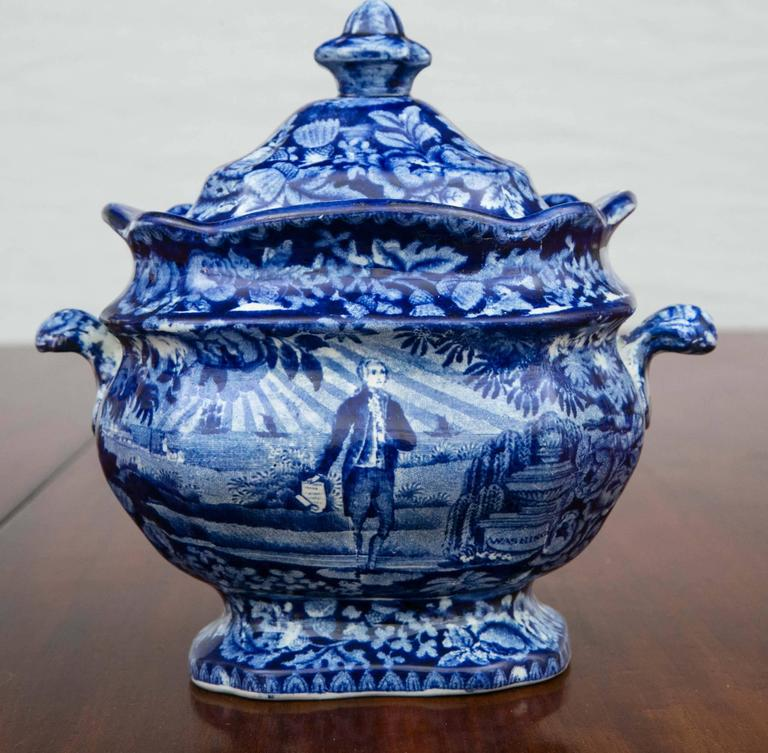 Porcelain Washington Standing at His Tomb Staffordshire Sugar Bowl and Cover, 19th Century For Sale
