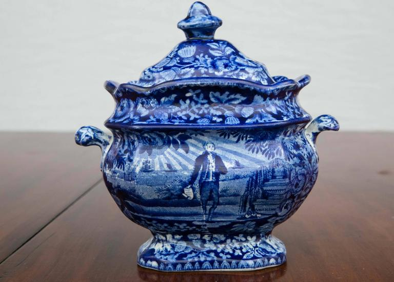 Washington Standing at His Tomb Staffordshire Sugar Bowl and Cover, 19th Century For Sale 2