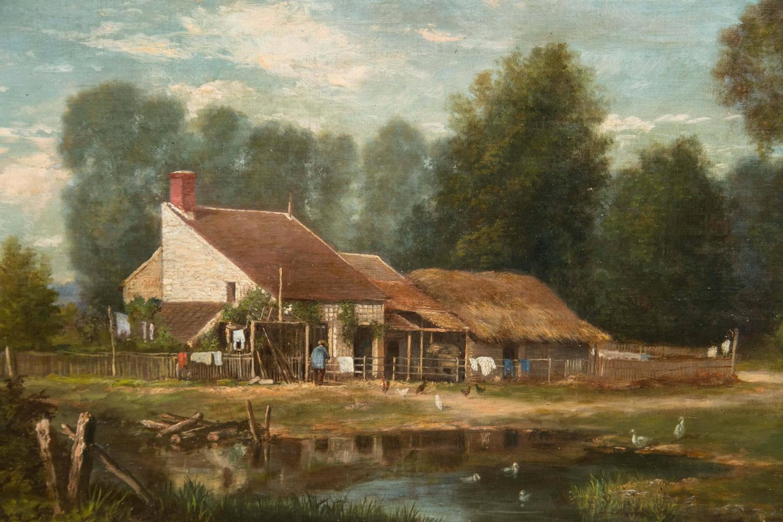 19th Century Oil On Canvas Farm Scene By John O Brien