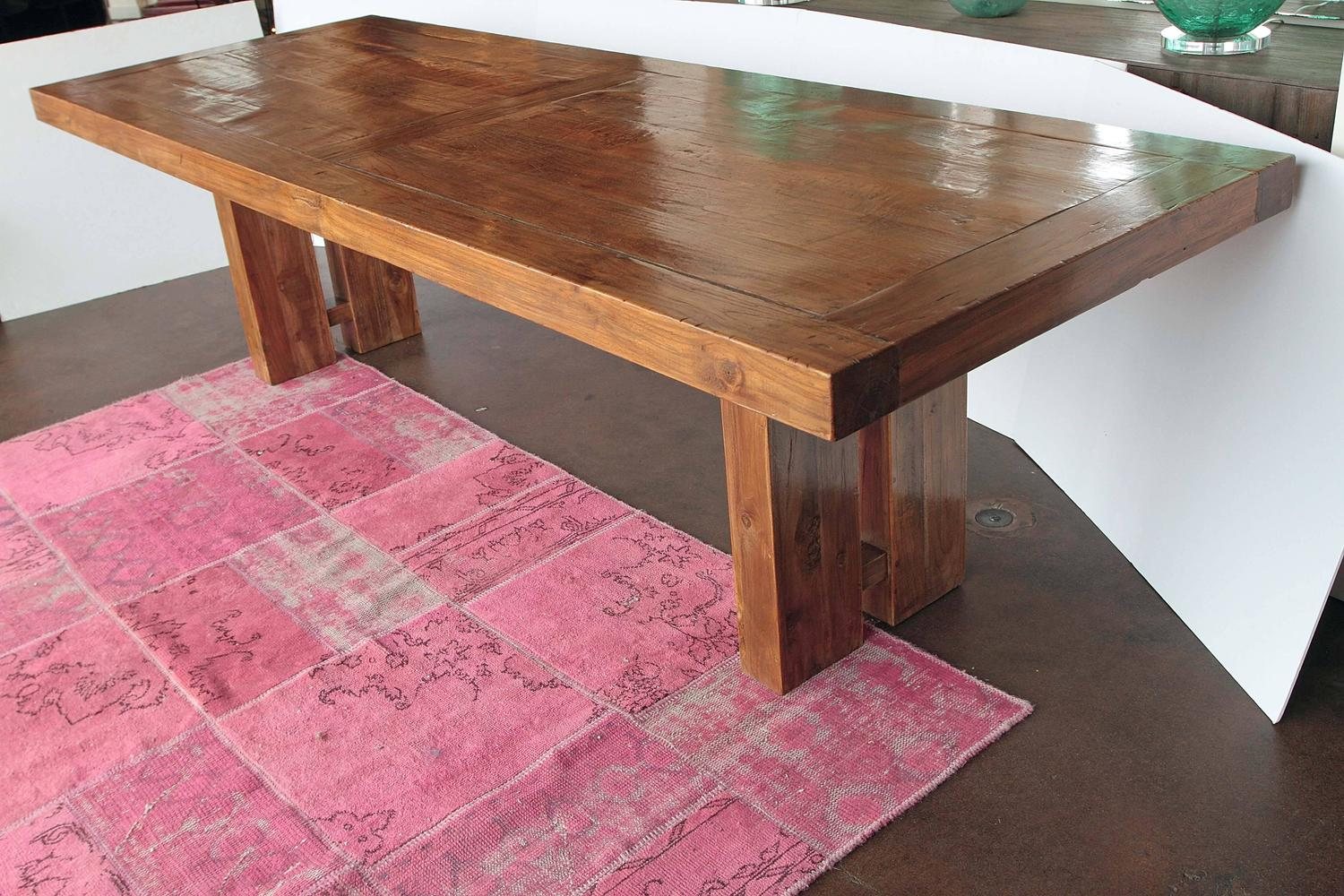 transitional solid teak wood dining table at 1stdibs