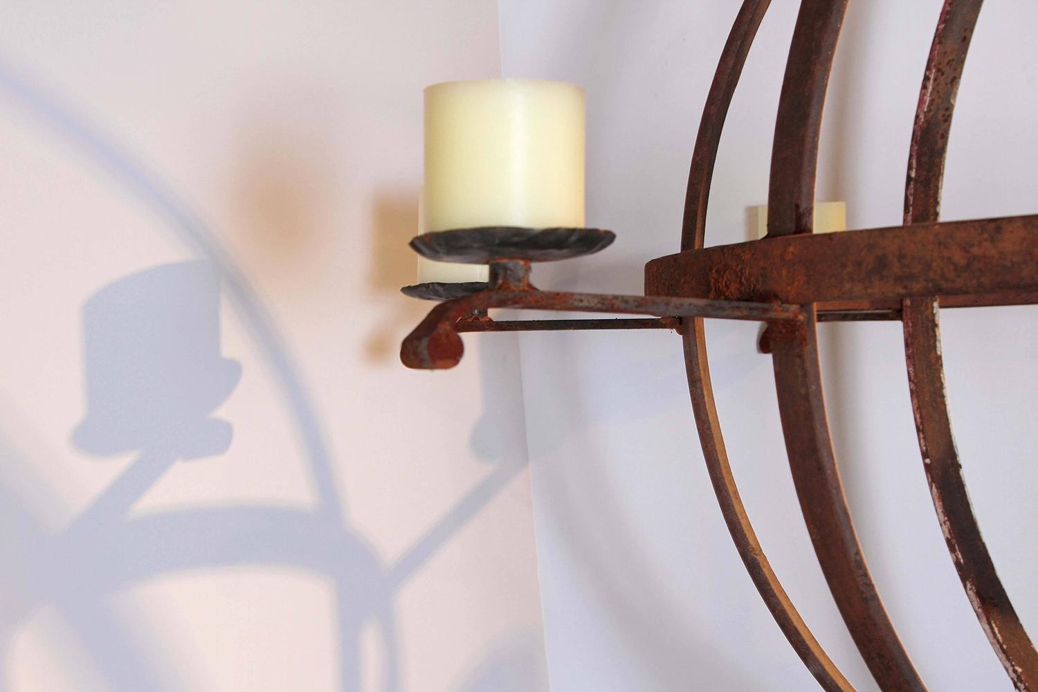 Industrial Orb Eight Candle Chandelier For Sale at