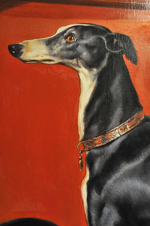 This lovely reproduction of Eos is after the original painting by Sir Edward Landseer, and is unsigned. The painting is very well executed and the artist has captured the greyhound's expression beautifully. It measures 55 in, 140 cm wide by 43 .¼