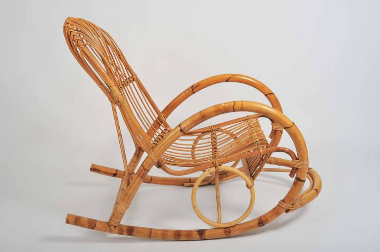 Mid Century Modern Natural Bamboo Rocking Chair Attributed To Franco Albini  For Sale
