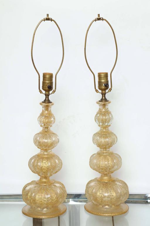 Hollywood Regency Pair of Barovier Descending Pumpkin Form Glass Lamps For Sale