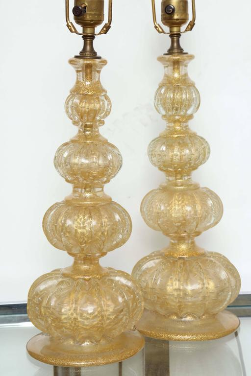Pair of Barovier Descending Pumpkin Form Glass Lamps In Good Condition For Sale In New York, NY