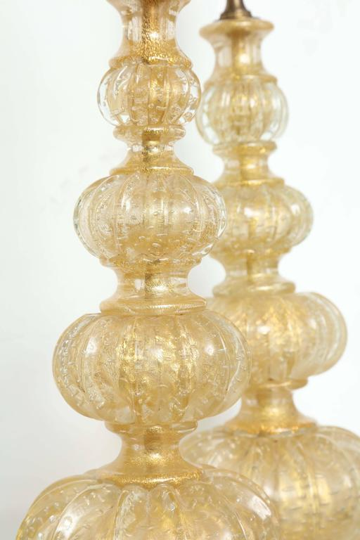 Mid-20th Century Pair of Barovier Descending Pumpkin Form Glass Lamps For Sale