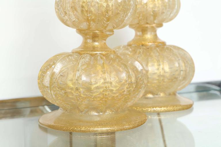 Murano Glass Pair of Barovier Descending Pumpkin Form Glass Lamps For Sale