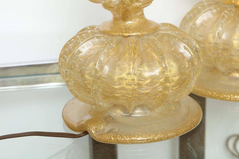 Pair of Barovier Descending Pumpkin Form Glass Lamps For Sale 2