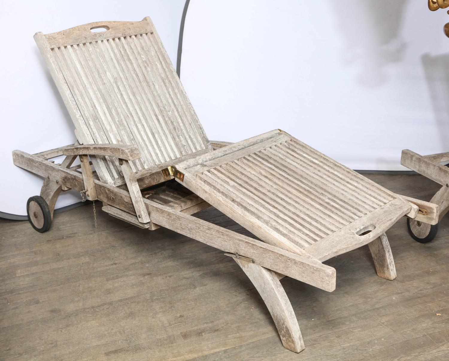 Teak Outdoor Lounge Chaise at 1stdibs